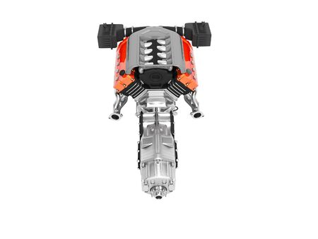 Car motor with air filters collector and gearbox top view 3d render on white background no shadow