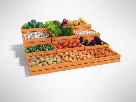 Concept selling set of vegetables in wooden boxes rear render on gray background with shadow