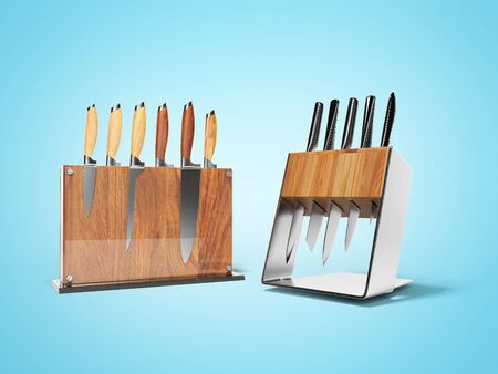 Two sets of five and six kitchen knives 3d render on blue background with shadow Imagens