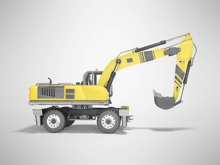 Concept full wheel excavator 3d render on gray background with shadow Imagens