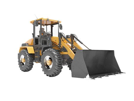 Concept excavator tractor for road works 3d render on white background no shadow Imagens