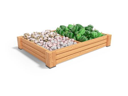 Concept selling set of vegetables in wooden boxes of green pepper garlic white mushrooms rear render on white background with shadow Imagens