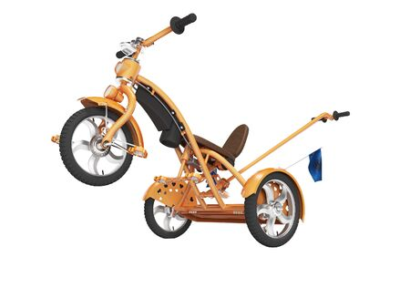 Concept orange kids tricycle with lift front wheel 3d render on white background no shadow Imagens