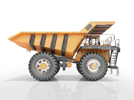 Concept orange dump truck 3D rendering on white background with shadow Фото со стока