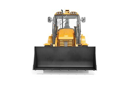 Concept excavator loader wheel front view 3d render on white background with shadow Imagens