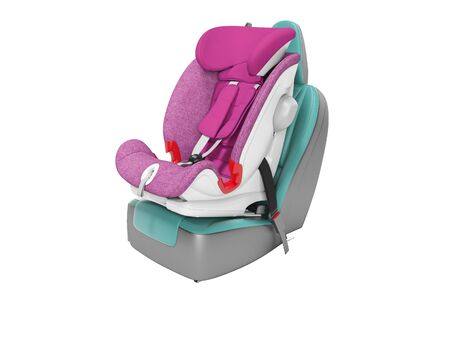 Concept purple child seat set on car seat 3D render on white background no shadow