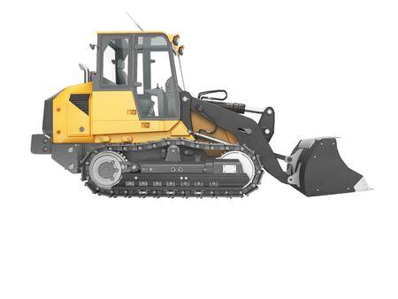 Concept crawler excavator loader 3d render on white background no shadow