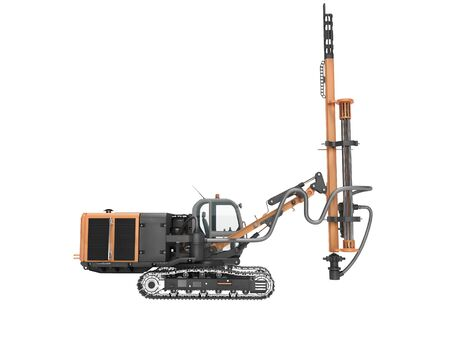 Crawler mobile drilling rig concept for construction work 3d render on white background no shadow