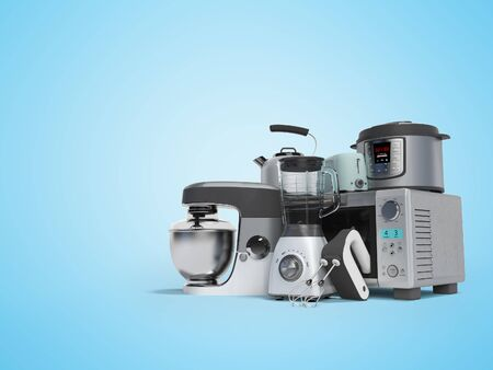 Concept set of household appliances for the kitchen pressure cooker blender mixer electric kettle 3d render on blue background with shadow