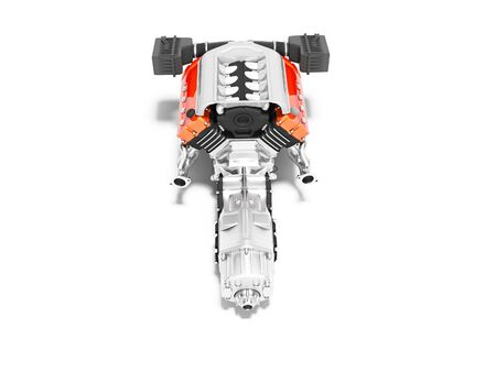 Car motor with air filters collector and gearbox top view 3d render on white background with shadow