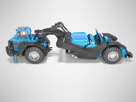 Concept wheeled tractor scraper side view 3d render on gray background with shadow