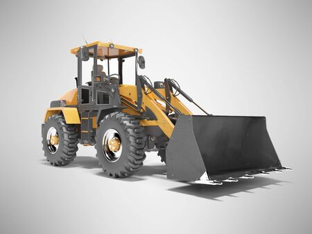 Concept excavator tractor for road works 3d render on gray background with shadow 写真素材
