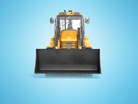 Concept excavator loader wheel front view 3d render on blue background with shadow