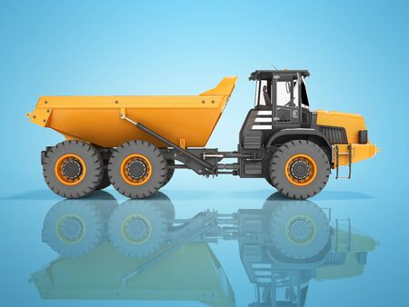 Truck with trailer for mining stone transport 3d render on blue background with shadow