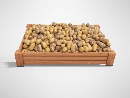 Concept selling ripe varietal potatoes in wooden box rear render on gray background with shadow