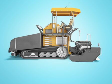 Concept paver for highway construction 3d render on blue background with shadow