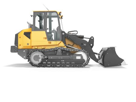 Concept crawler excavator loader 3d render on white background with shadow Imagens