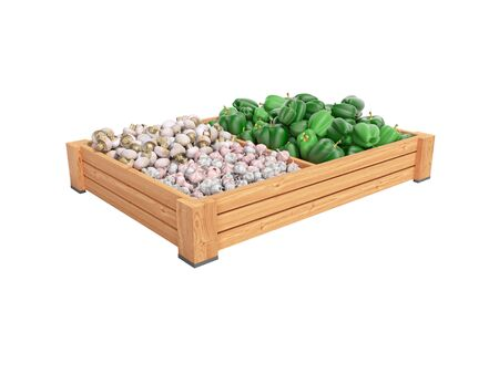 Concept selling set of vegetables in wooden boxes of green pepper garlic white mushrooms rear render on white background no shadow
