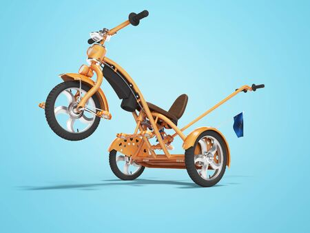 Concept orange kids tricycle with lift front wheel 3d render on blue background with shadow
