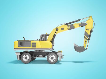 Concept full wheel excavator 3d render on blue background with shadow Imagens