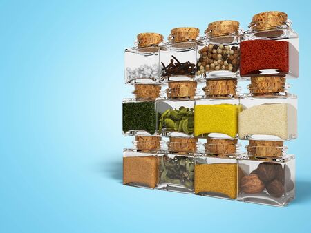 Concept set of spices in glass bottles 3D render on blue background with shadow Imagens