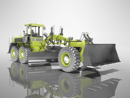 Concept green grader 3d render on gray background with shadow
