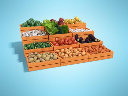 Concept selling set of vegetables in wooden boxes rear render on blue background with shadow Imagens