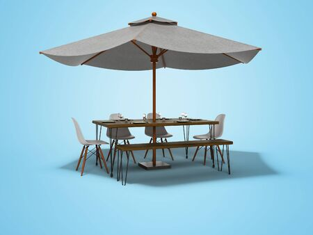 White umbrella for restaurant on central support with table 3D render on blue background with shadow Imagens