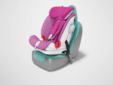 Concept purple child seat set on car seat 3D render on gray background with shadow Фото со стока