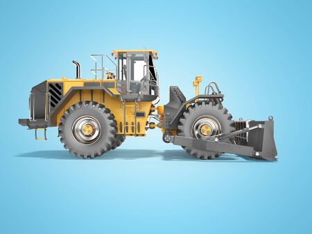 Concept road car for open cast mining 3d render on blue background with shadow