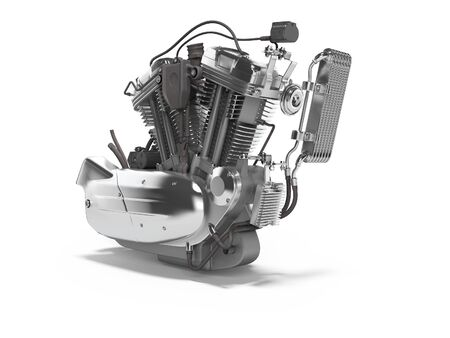 Concept motorcycle engine with radiator with gearbox 3d render on white background with shadow