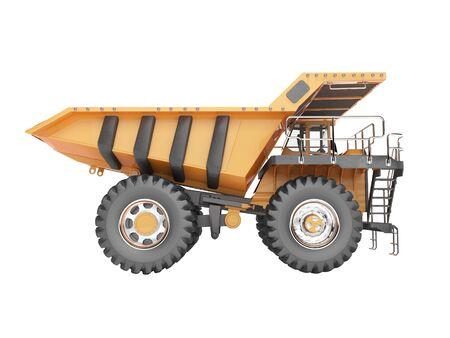 Concept orange dump truck 3D rendering on white background no shadow
