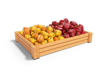 Concept sell set of yellow and red sweet peppers in wooden box rear render on white background with shadow