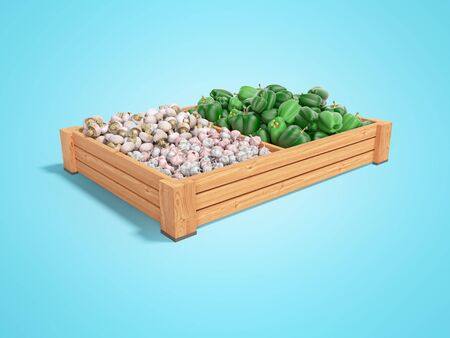 Concept selling set of vegetables in wooden boxes of green pepper garlic white mushrooms rear render on blue background with shadow