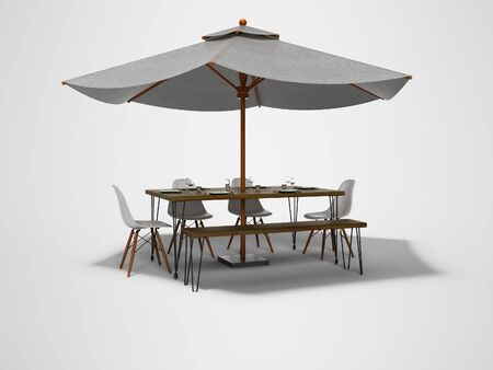 White umbrella for restaurant on central support with table 3D render on gray background with shadow Imagens