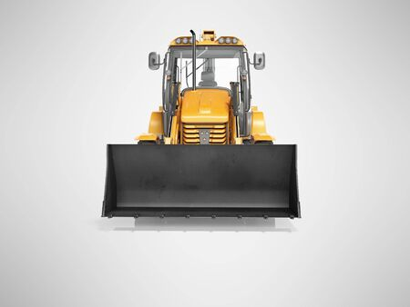 Concept excavator loader wheel front view 3d render on gray background with shadow