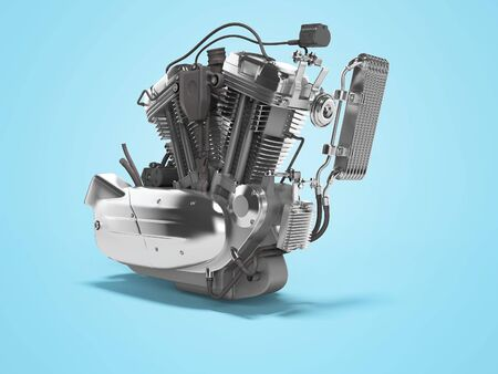 Concept motorcycle engine with radiator with gearbox 3d render on blue background with shadow