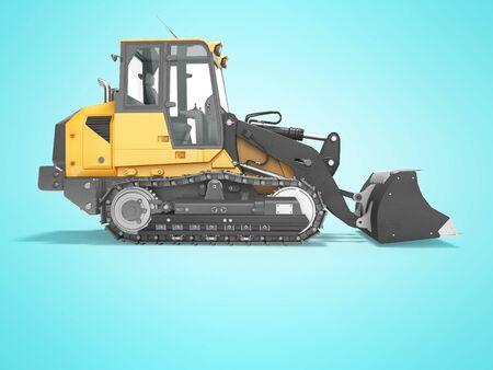 Concept crawler excavator loader 3d render on blue background with shadow