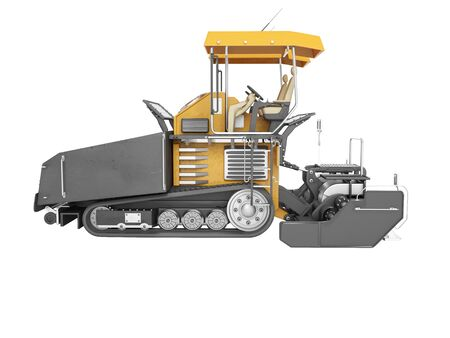 Concept paver for highway construction 3d render on white background no shadow