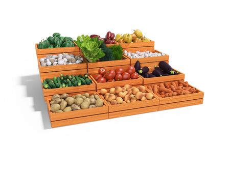 Concept selling set of vegetables in wooden boxes rear render on white background with shadow