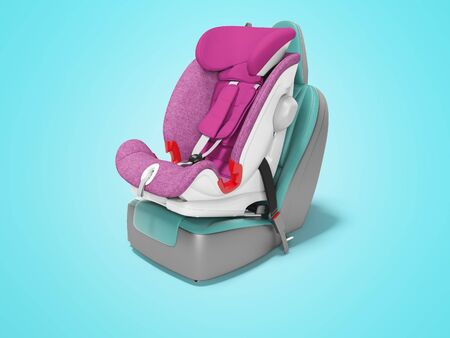Concept purple child seat set on car seat 3D render on blue background with shadow Imagens