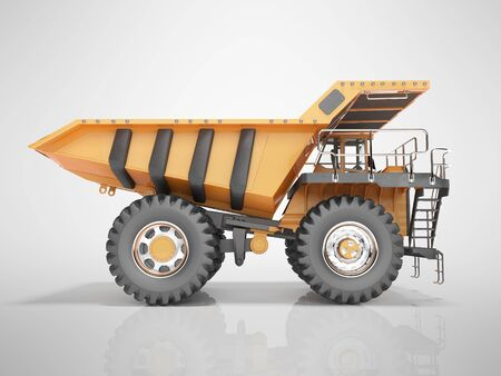 Concept orange dump truck 3D rendering on gray background with shadow