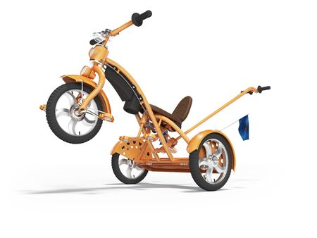 Concept orange kids tricycle with lift front wheel 3d render on white background with shadow Stok Fotoğraf