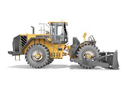 Concepto de coche de carretera para la minería a cielo abierto 3D Render sobre fondo blanco con sombra