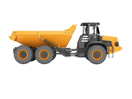 Truck with trailer for mining stone transport 3d render on white background no shadow
