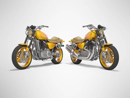 Concept orange two motorcycle front view rear render on gray background with shadow