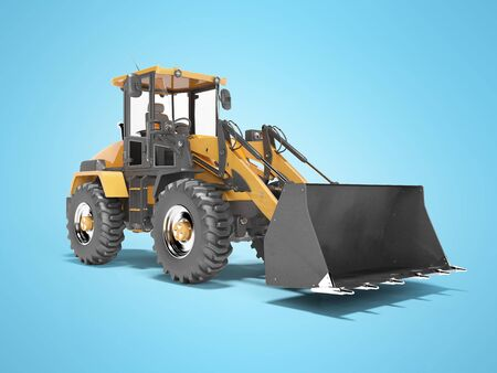 Concept excavator tractor for road works 3d render on blue background with shadow