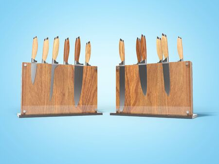 Two sets of kitchen knives on wooden stand with glass 3D render on blue background with shadow