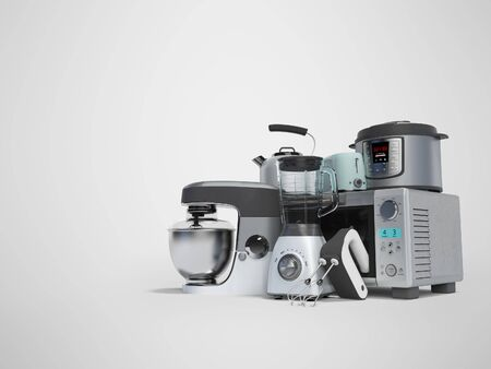 Concept set of household appliances for the kitchen pressure cooker blender mixer electric kettle 3d render on gray background with shadow