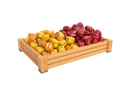 Concept sell set of yellow and red sweet peppers in wooden box rear render on white background no shadow Imagens